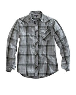 Tin Haul Mens Shirt Western L s 100 Cotton Rolling Stone Plaid Green 0500
