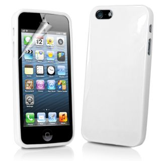 White Gel Case Cover for Apple IPHONE5 iPhone 5 5g Screen Protector