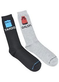 Dr Who Icon Mens 2 Pack Crew Socks 2012 New Apparel Accessories