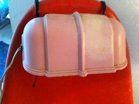 Vintage Pink Plastic Art Deco Bed Headboard Head Board Lamp Light