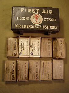 WWII WW2 US Army Motor Vehicle First Aid Kit 12 Unit First Aid Components