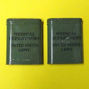 Two 2 Pocket Size First Aid Cans US Army Medical Department Tin Hinged Lid