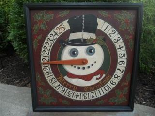Primitive Snowman Advent Calendar Christmas Folk Art Wood Game Board
