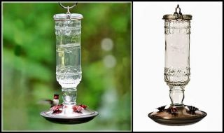 Set of 2 Glass Hummingbird Feeders Clear Antique Bottle Nectar Feeder