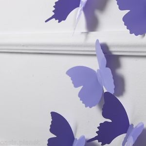 Purple 3D Butterflies Wall Stickers Docors Art Decorations Paper