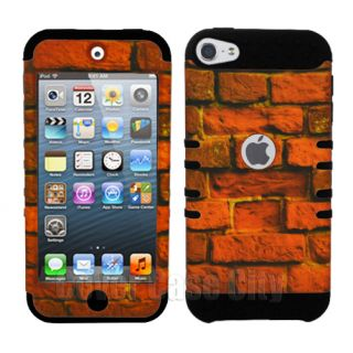 Hybrid Hard Case Red Bricks w Black Soft Cover for Apple iPod Touch 5 5th Gen