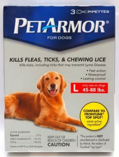 New Petarmor Flea Tick Lice Treatment Large Dogs 45 88lbs 3 Month Supply