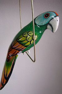 Large Paper Mache Hanging Bird Parrot Cockatoo Garden Decor Home Folk Art Green