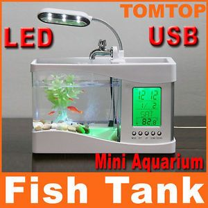 New White Mini USB LCD Desktop Lamp Light Fish Tank Aquarium LED Clock