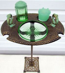 Vintage 1930 Art Deco Cast Iron Ashtray Stand with Green Jadeite Glass Container