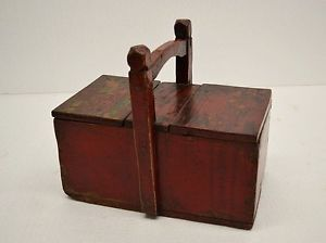 Chinese Antique Red Wooden Food Storage Basket Lunch Box with Handle AP28 10