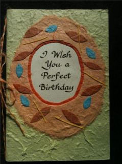 "Blue Mountain Art Card ""I Wish You A Perfect Birthday"" Hand Made Recycled Paper"