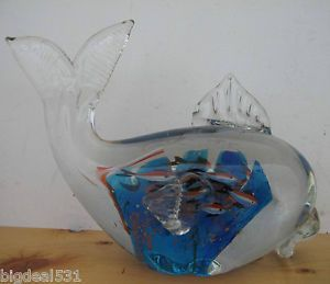 Large Crystal Ball Art Glass Swimming Fish Bowl Whale Paper Weight Paperweight