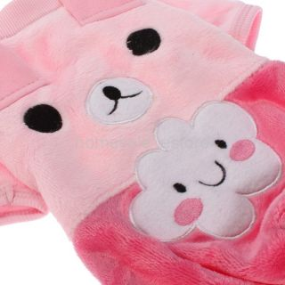 Pet Puppy Dog Clothes Bear Winter Warm Fleece Hoodie Hood Jumpsuit Apparel Coat