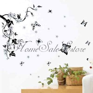 Flowers Butterfly Removable Wall Paper Sticker Decal Vine Art Home Decor New