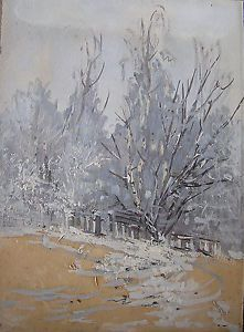 Russian Art Painting Winter Landscape Oil on Paper Old Antique Art Sale