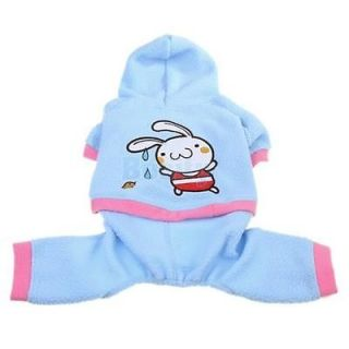 Light Blue Pet Dog Coat Hoodie Clothes Apparel Rabbit S