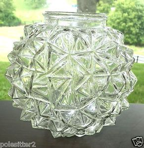 Art Deco Glass Light Fixture Shade Globe Cubist Ruba Rombic Geometric Shape 2