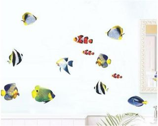 DIY Removable PVC Fish Set Art Design Wall Sticker Decor Home Room Bathroom New