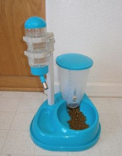 Small Pet Puppy Dog Cat Food Feeder and Water Fountain Teal Blue