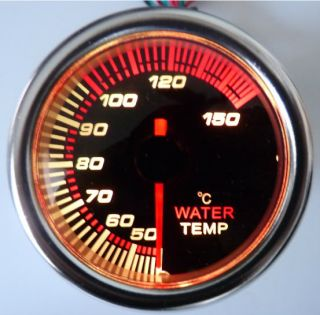 7 Colors Water Temp Gauge Smoke Lens 12 Volt Back Lit 270 Degree 40 Series