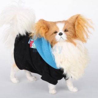 Pet Puppy Dog Black Blue Hoodie Sweatshirt Coat Clothes Apparel Buttoned Fleece