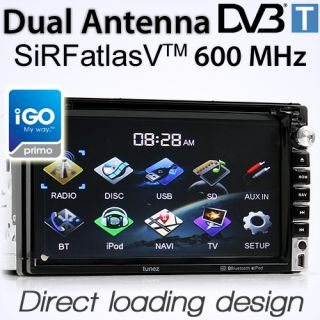 "7"" Double 2 DIN Car DVD GPS Player DVB T MPEG 4 Stereo Head Unit Radio iGo Primo"