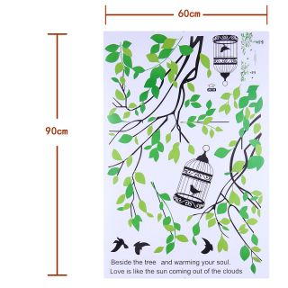 Wall Art Decor Vinyl Removable Mural Decal Sticker Tree Branches Birds Cage