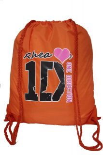 I Love One Direction Personalized Large Drawstring Backpack Gym P E Swim Bag