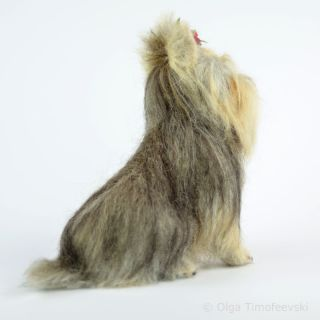 Yorkshire Terrier Needle Felted Yorkie Holiday Dog Figurine by Olga Timofeevski