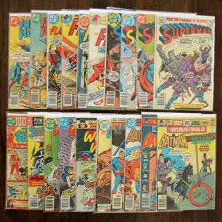 DC Bronze Age Lot 20 Comics Superman Flash Brave Bold Wonder Woman Freedom