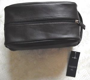 Tommy Hilfiger Travel Mens Grooming Toiletry Shaving Case Bag Kit Brown
