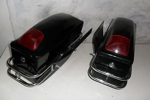 Honda Black Hard Saddl VTX Cruiser Saddle Bags Cargo Cases Fit V Star VMAX