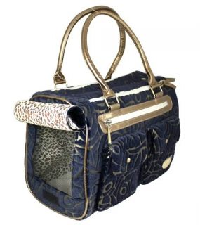 New Fashion Petcare Blue Jacquard Weave Pet Dog Cat Tote Bag Carrier M
