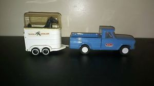 Vintage 1960's Tonka Jeep Blue Pkup Truck Tonka Stables Horse Covered Trailer
