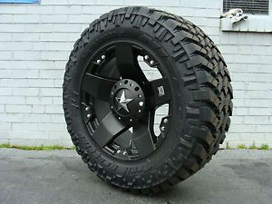 "20"" XD Rockstar Black 295 60R20 Nitto Trail MT 34 5"" Mud Tires Dodge Chevy Ford"