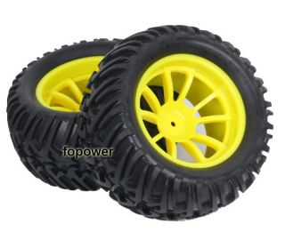 4pcs RC Rubber Sponge Tires Tyre Wheel Rim HSP 1 10 Monster Bigfoot Truck 88007