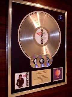 Michael Jackson Bad Multi Platinum Disc Record Award