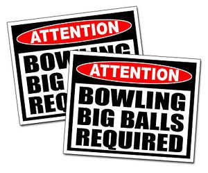Big Balls Bowling Ball Warning Sticker Bag Pin League