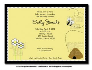 Bee Happy Bumble Bee Baby Shower Invitations