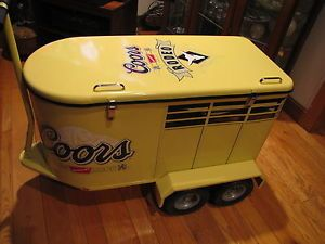 RARE Coors Light Beer Rodeo Pull Along Horse Trailer Home Bar Beer Advertising