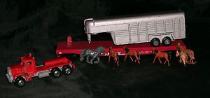 HO Scale Gauge Train Flat Car ATSF w Horse Trailer Horses Semi Truck