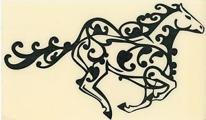 Tribal Celtic Horse Decal Truck Trailer RV Equestrian Cowgirl Med Black Glitter