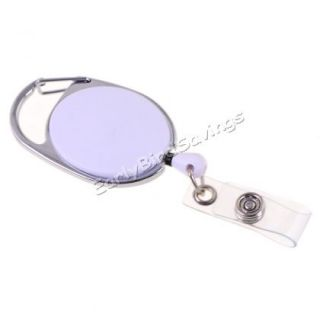 White PC Carabiner Style Retractable Key ID Card Badge Key Reel Holder Belt Clip