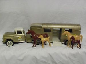 1960s Nylint No 6300 Horse Van Truck Trailer Original Condition Pressed Stee