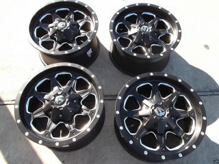 "17"" Black Fuel Boost Wheels Rims 8x165 1 Chevy GMC Dodge 2500 3500 Hummer H2"