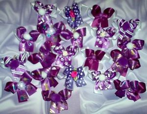 20 Double Decorated Purple Dog Bows Yorkie Maltese Shih Tzu Dog Grooming Bows