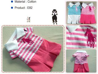 Dog Pet Clothing Skirts Polo Embroidered Dresses E82 Pink Sz XL