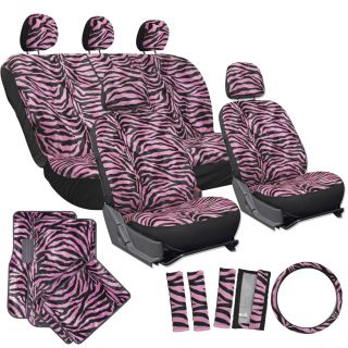 15pc Set Seat Covers Pink Zebra Animal Print Floor Mats Wheel Belt Head Pads