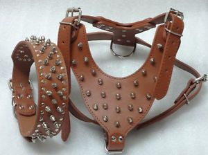 Brown Leather Spikes Studded Dog Harness Collar Set Pit Bull Bully Husky Terrier
